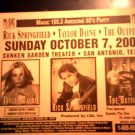 CONCERT FLYER Rick Springfield Taylor Dayne the Outfield texas SALE