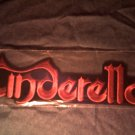 CINDERELLA iron-on PATCH red logo VINTAGE JUMBO!