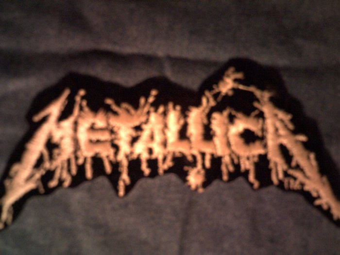 METALLICA iron-on PATCH yellow splatter logo VINTAGE