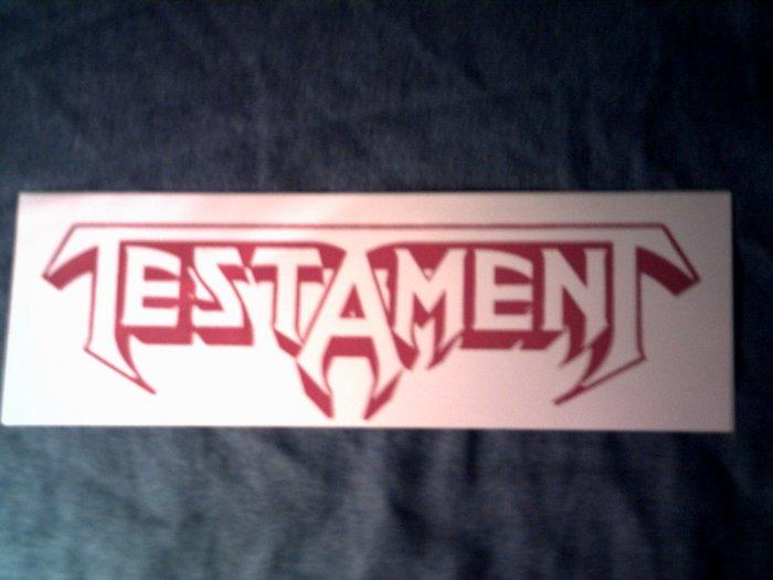 TESTAMENT STICKER red on white logo VINTAGE