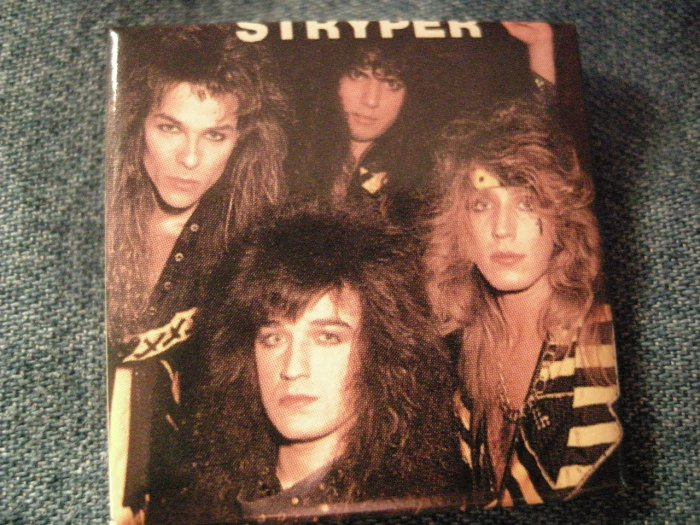 STRYPER PINBACK BUTTON square band pic VINTAGE
