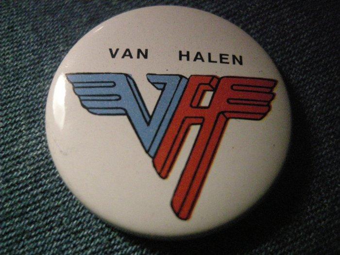 VAN HALEN PINBACK BUTTON =vh= logo VINTAGE