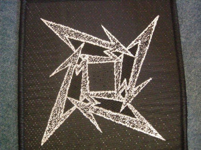 METALLICA sew-on PATCH silver ninja star logo HTF