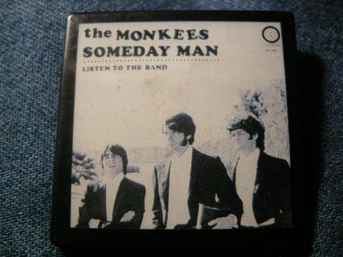 THE MONKEES PINBACK BUTTON Someday Man album art square VINTAGE 80s!