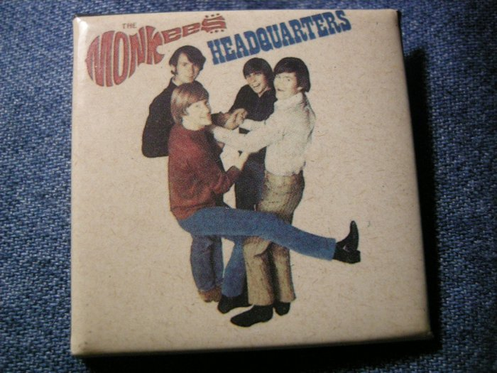 THE MONKEES PINBACK BUTTON Headquarters album art square VINTAGE 80s!