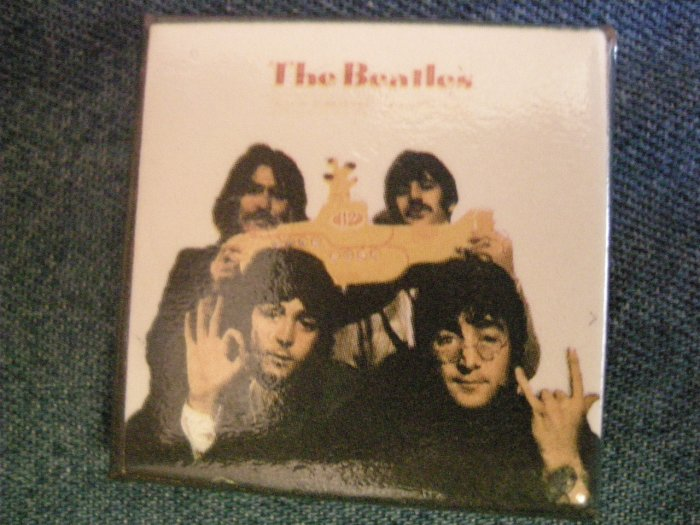 THE BEATLES PINBACK BUTTON square Yellow Submarine band VINTAGE 80s!