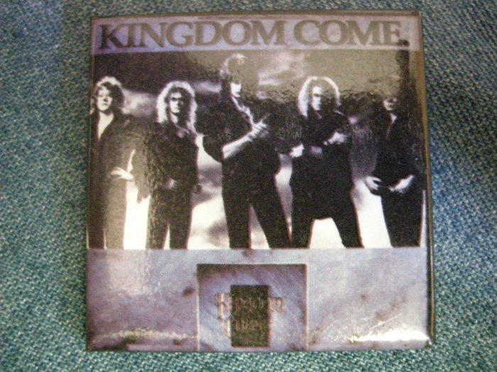 KINGDOM COME PINBACK BUTTON square band pic VINTAGE