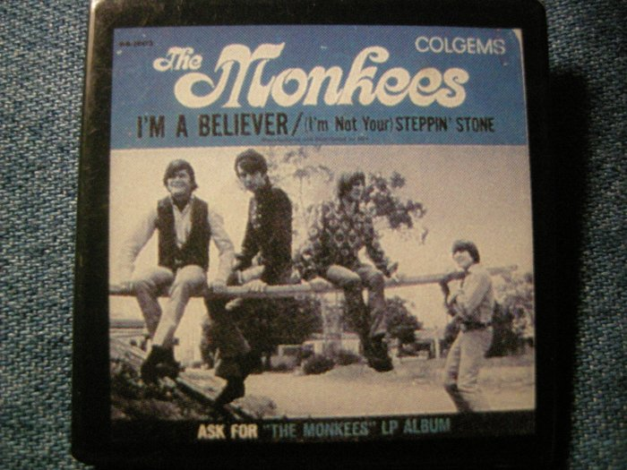 THE MONKEES PINBACK BUTTON I'm a Believer album art square VINTAGE 80s!