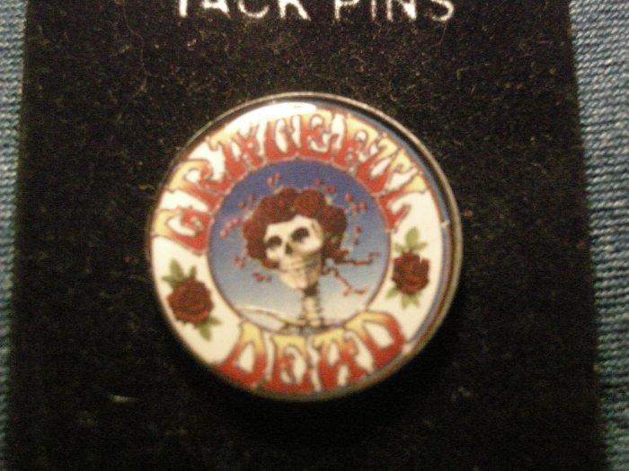 GRATEFUL DEAD TACK PIN skull & roses button NEW!