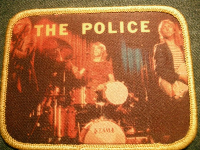THE POLICE sew-on PATCH yellow color band photo sting IMPORT
