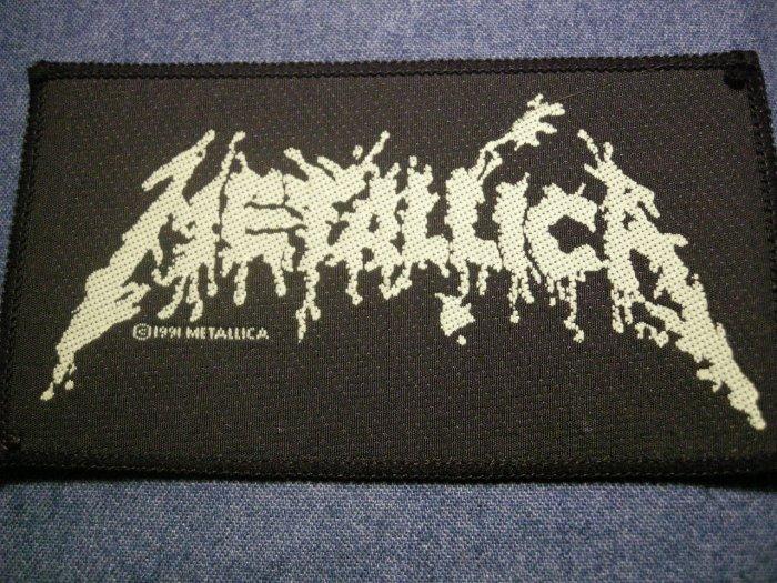 METALLICA sew-on PATCH green splatter logo VINTAGE