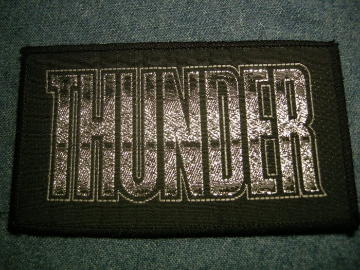 THUNDER sew-on PATCH silver logo metal VINTAGE