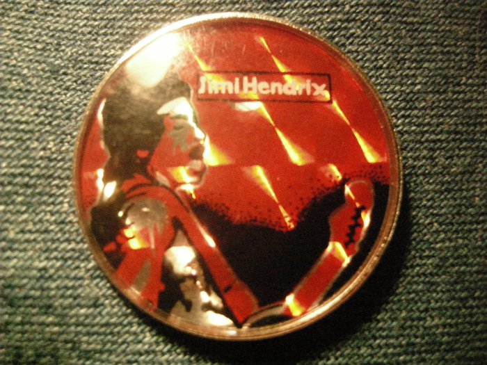 JIMI HENDRIX PINBACK BUTTON prism red w/guitar VINTAGE