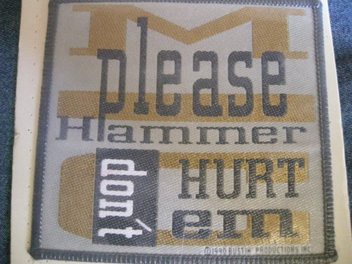 MC HAMMER sew-on PATCH Please Don't Hurt Em rap VINTAGE