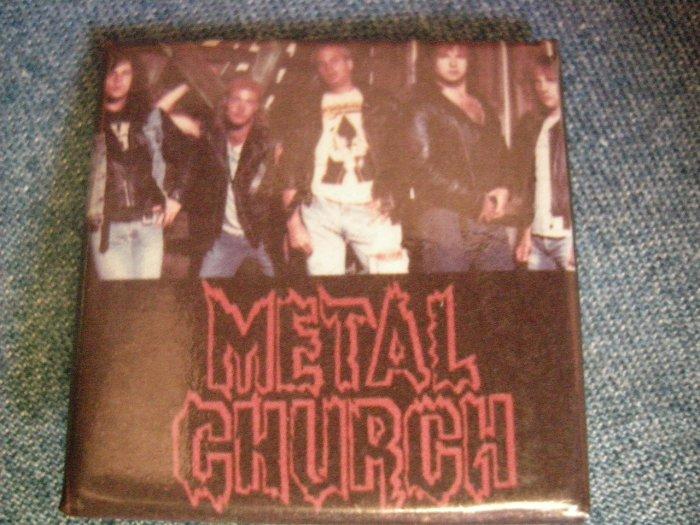 METAL CHURCH PINBACK BUTTON square band pic VINTAGE