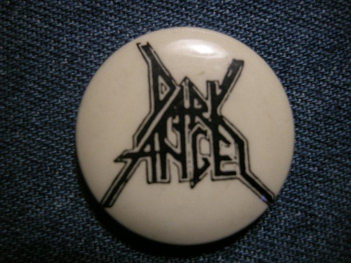 DARK ANGEL PINBACK BUTTON logo white VINTAGE