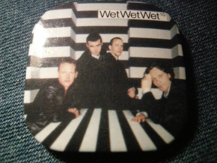 WET WET WET PINBACK BUTTON pic square VINTAGE 80s!