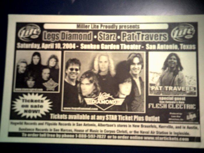 CONCERT FLYER Legs Diamond Starz Pat Travers texas