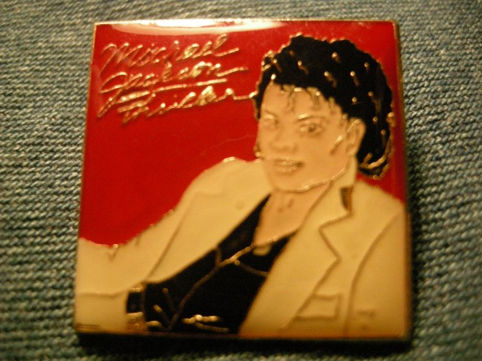 MICHAEL JACKSON TACK PIN Thriller square button VINTAGE 80s!