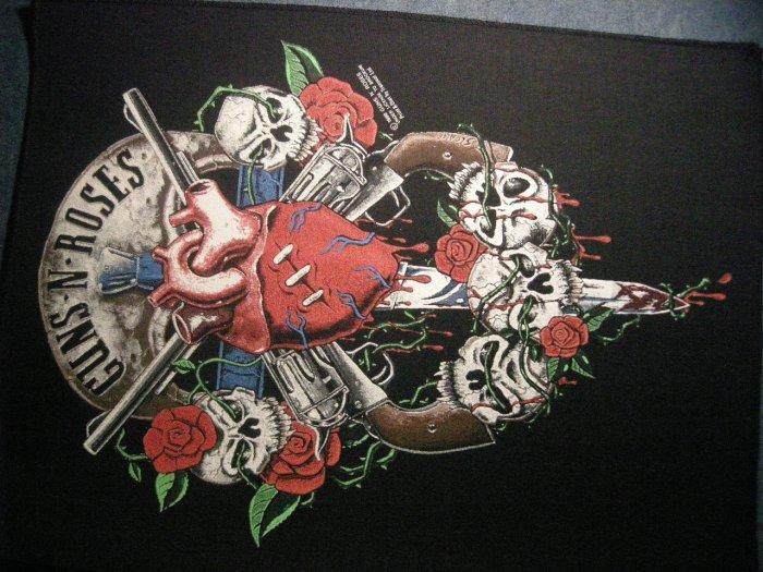 GUNS N ROSES BACKPATCH human heart skulls logo patch VINTAGE