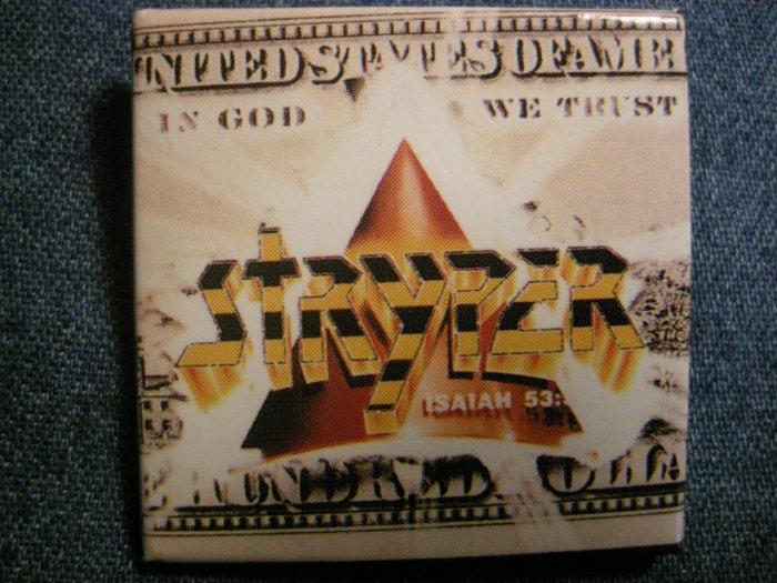 STRYPER PINBACK BUTTON square In God We Trust album art VINTAGE