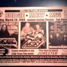 CONCERT FLYER Budgie Moxy MSG michael schenker texas