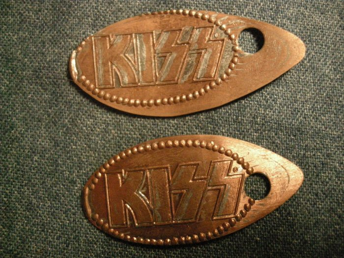 KISS PENNY LOT logo on flattened pennies UNIQUE!