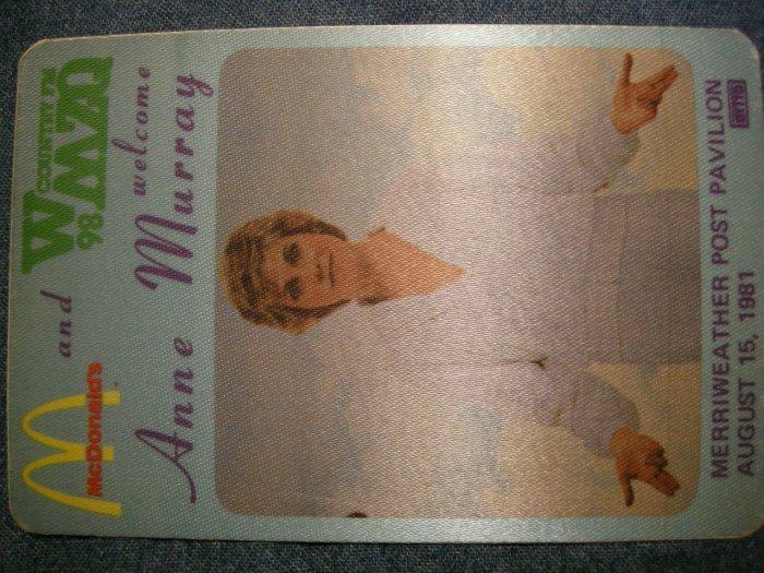ANNE MURRAY BACKSTAGE PASS 1981 wmzq radio promo bsp VINTAGE