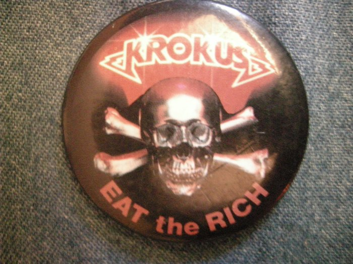 KROKUS PINBACK BUTTON Eat the Rich skull VINTAGE