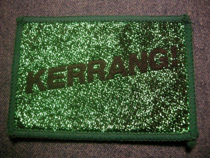 KERRANG! sew-on PATCH glitter magazine logo VINTAGE 80s