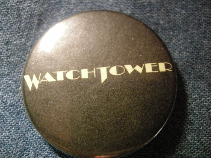 WATCHTOWER PINBACK BUTTON logo jason mcmaster dangerous toys HTF