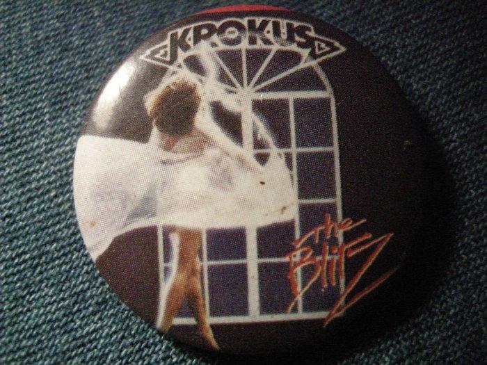 KROKUS PINBACK BUTTON Blitz album art VINTAGE