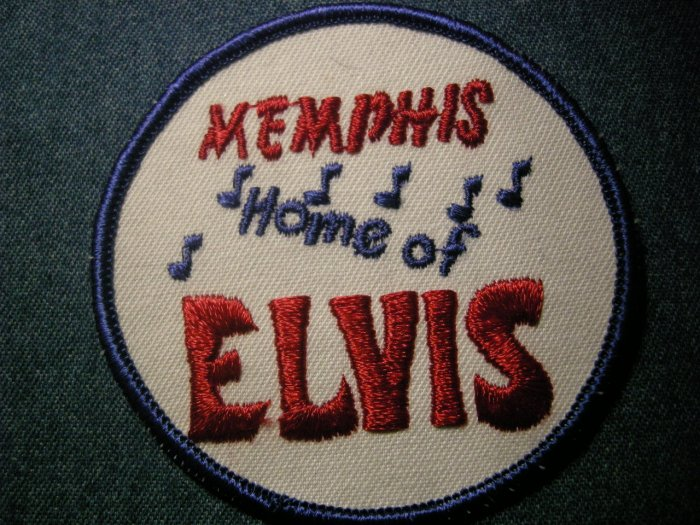 ELVIS PRESLEY sew-on PATCH memphis Home of Elvis round VINTAGE