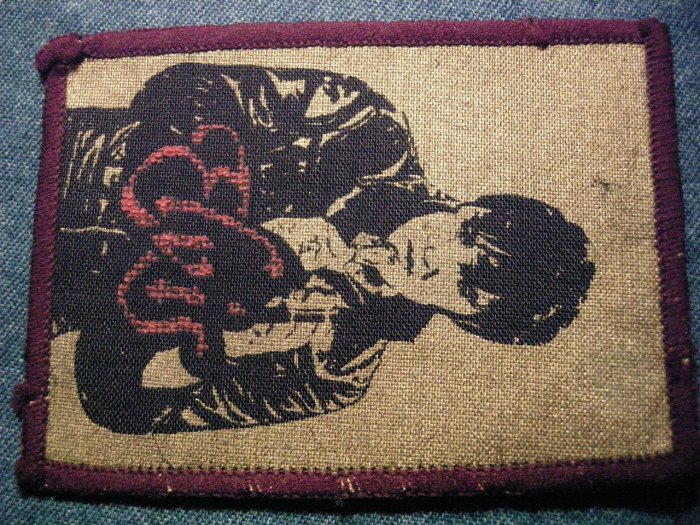 ELVIS PRESLEY sew-on PATCH red/gold logo VINTAGE