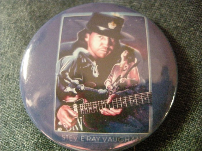 STEVIE RAY VAUGHAN PINBACK BUTTON blue collage art