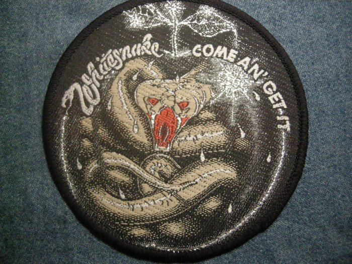 WHITESNAKE sew-on PATCH Come an Get It round apple VINTAGE