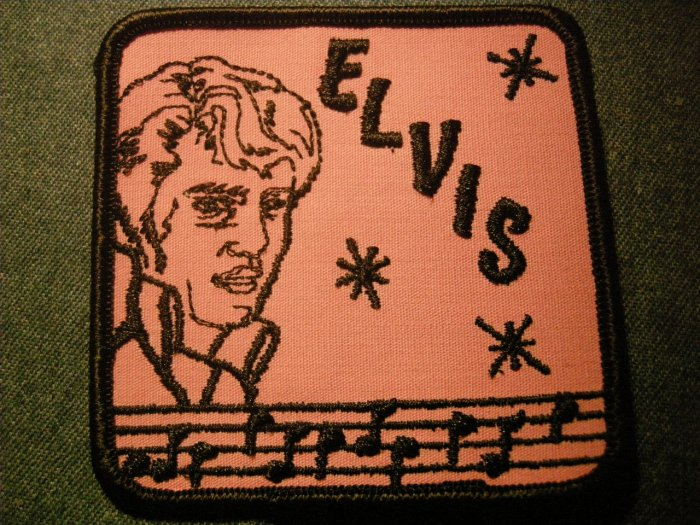ELVIS PRESLEY sew-on PATCH pink & black VINTAGE