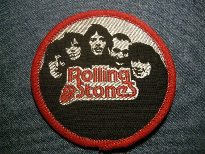 THE ROLLING STONES sew-on PATCH round band pic VINTAGE 80s