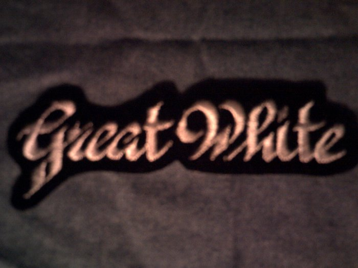 GREAT WHITE iron-on PATCH small classic logo VINTAGE