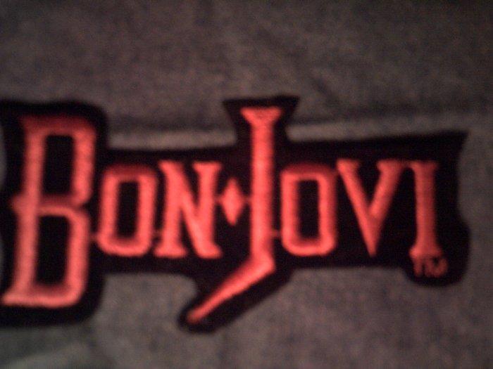 BON JOVI iron-on PATCH red logo jon VINTAGE