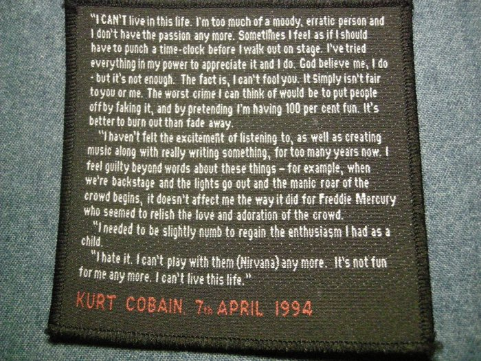 NIRVANA sew-on PATCH kurt cobain suicide note April 7th 1994 IMPORT