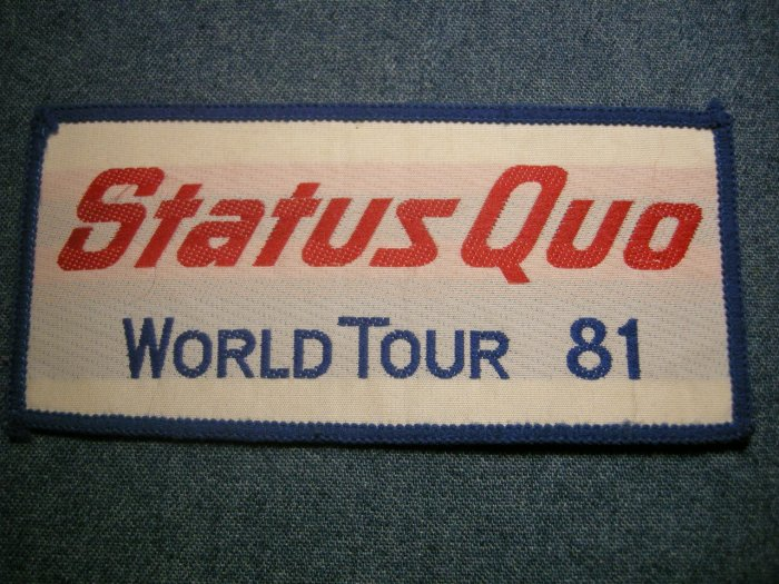 STATUS QUO sew-on PATCH 1981 World Tour logo VINTAGE