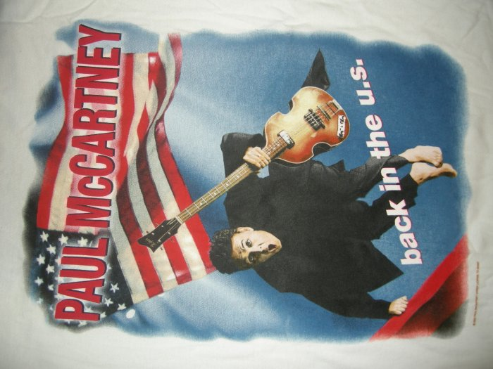 PAUL McCARTNEY 2002 TOUR SHIRT Back in the US flag the beatles 2XL XXL NEW!