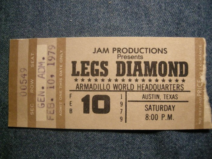 LEGS DIAMOND TICKET STUB 2/10/79 austin texas VINTAGE