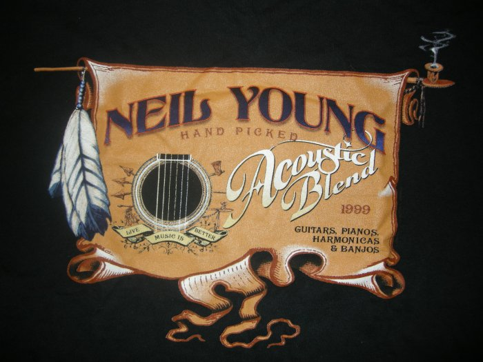 NEIL YOUNG SHIRT 1999 Tour solo acoustic pipe XL