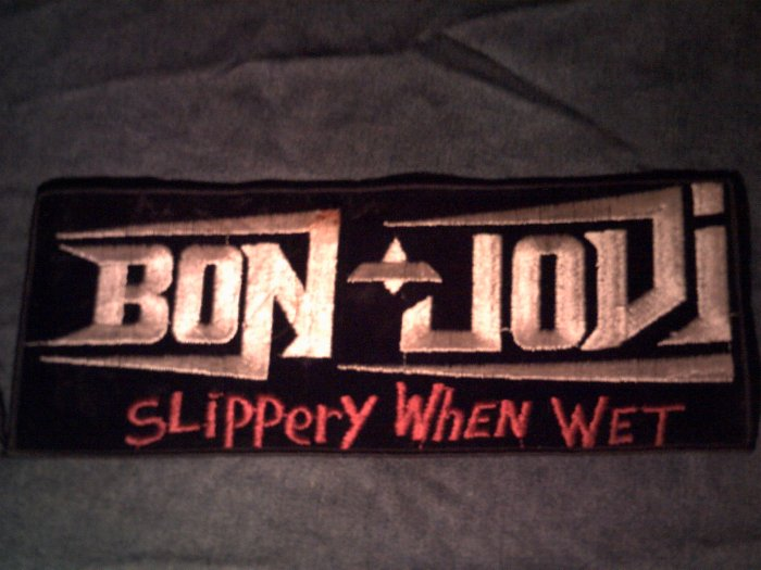 BON JOVI iron-on PATCH Slippery When Wet jon VINTAGE JUMBO