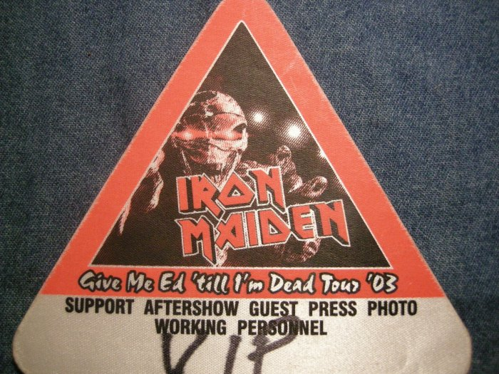 IRON MAIDEN BACKSTAGE PASS Give Me Ed 2003 vip bsp HTF!