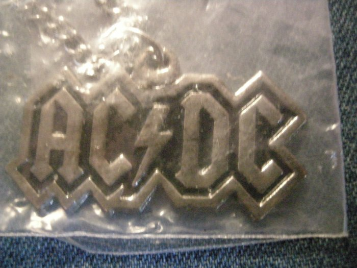 AC/DC METAL NECKLACE classic logo acdc VINTAGE