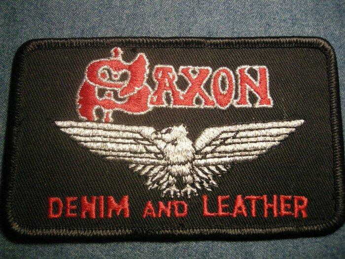 SAXON iron-on PATCH Denim and Leather eagle logo VINTAGE 80s!