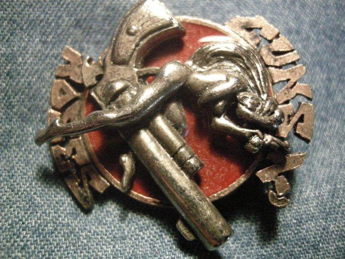 GUNS N ROSES METAL PIN riding girl logo badge gnr VINTAGE